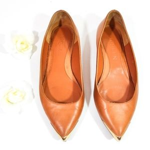 Alexander McQueen Leather Gold Toe Flats